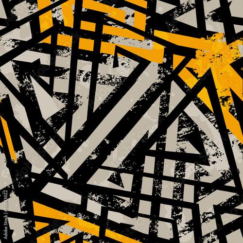 urban geometric seamless pattern with grunge effect - 80843022
