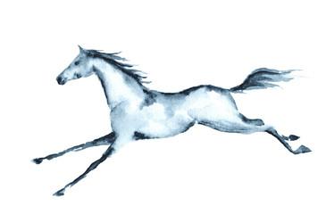 Wet watercolor galloping horse. Vector.