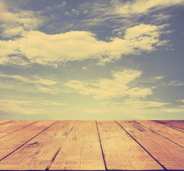 sky and wood floor, instagram retro style