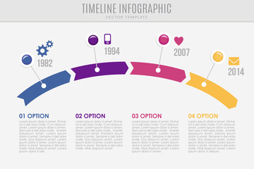 Timeline report template with buttons and icons, vector