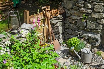 Garden tools outdoors