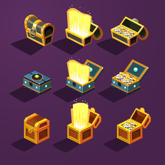 Chest Set for Game Resource. Vector Illustration