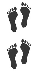 Fuß-Abdrücke mit Kontur, footprints with contour