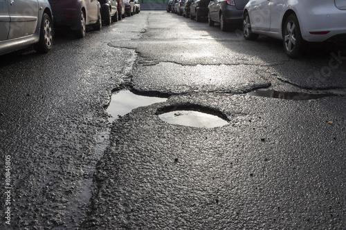 Leinwandbild Motiv Dziura w drodze