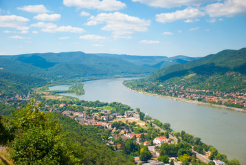The view of Danube Bend from the top of Visegrad Hungary