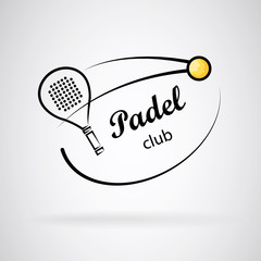 Logo for paddle club. Racket and ball