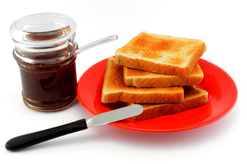 Breakfast with toast and coffee