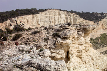 limestone cliffs of the peninsula Akrotiri, Cyprus