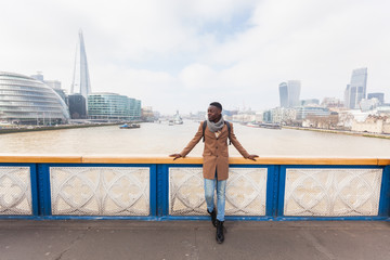 Young man on Tower Bridge in London