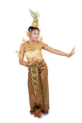 Thai dancer isolated on white background
