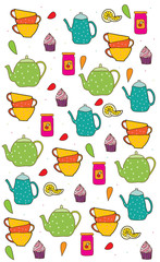 abstract background with kitchen set tea Cup jar of jam