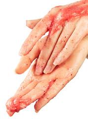 Female hands in body scrub