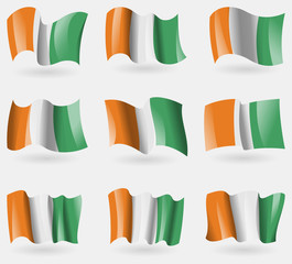Set of Cote dlvoire flags in the air. Vector