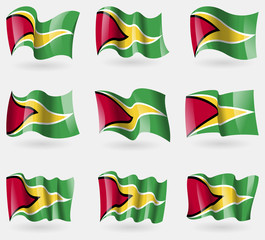 Set of Guyana flags in the air. Vector