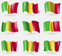 Set of Mali flags in the air. Vector