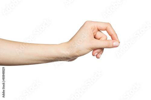 Leinwandbild Motiv Woman's hand holding something, isolated on white