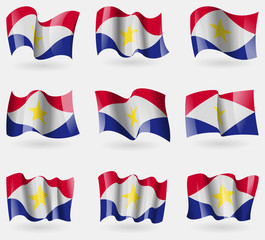 Set of Saba flags in the air. Vector