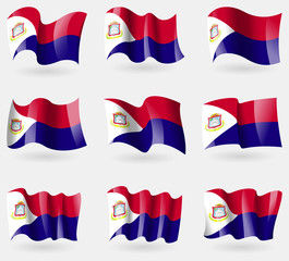Set of Saint Martin flags in the air. Vector