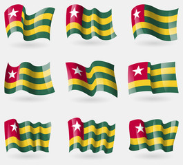 Set of Togo flags in the air. Vector