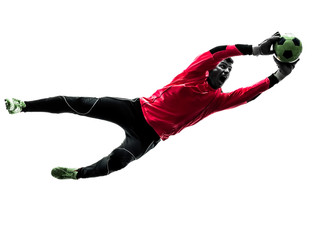 caucasian soccer player goalkeeper man catching ball silhouette