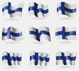 Set of Finland flags in the air. Vector