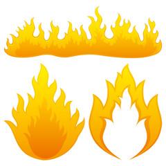 Vector set. Fire flames.