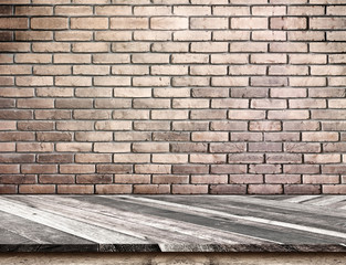 Empty Diagonal Wooden Table top at blurred white brick wall,Temp