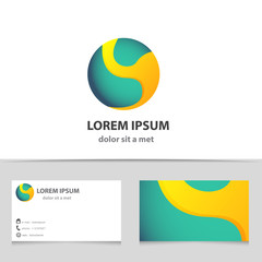 Abstract vector logo icon sphere with business card.