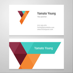Modern letter Y Business card template