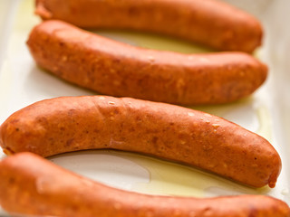 rustic uncooked sausages