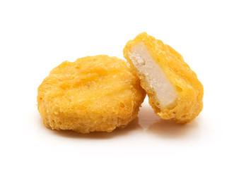 Fried chicken nuggets isolated