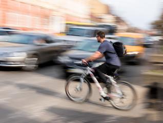 Cyclist on zebra crossing