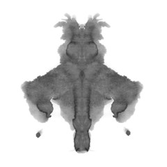 photo Rorschach inkblot test isolated on white background