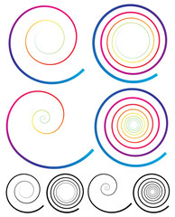 Colorful Spiral Elements. Plain Black Version Included