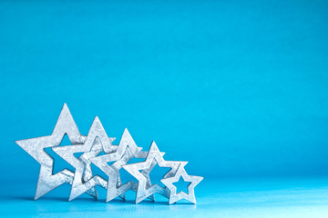 Five stars silver light blue
