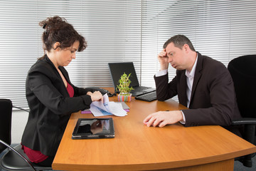 Business Man in an Job interview to find a female assistant