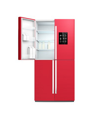 Wine red color smart refrigerator with LCD screen.