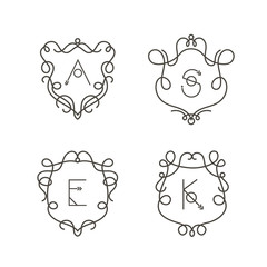 Set of monogram design templates, Elegant outline logo design