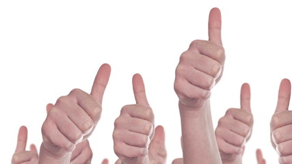 Group of  People making Hand Thumbs Up Like Sign