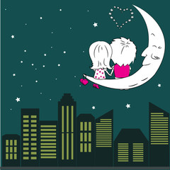 Loving couple man and woman sitting on the moon in the night cit