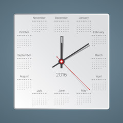 Creative calendar for 2016 in the form of hours, Vector