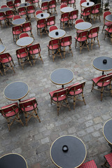Cafe in Paris with no people from high angle view