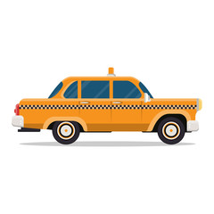 Vector graphic yellow retro Taxi cab on white background