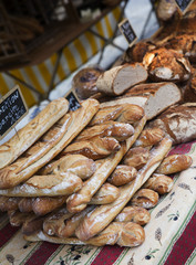 Close up of bread at a market in Paris