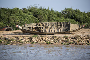Cambodia, a village on the Mekong river