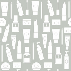 Seamless background with cosmetics icons