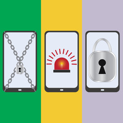 Set mobile security, vector illustration