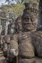 Cambogia, ancient statue angels and demons
