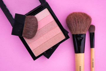Make-Up in Pink Background