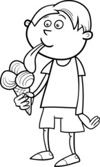 boy with ice cream coloring page